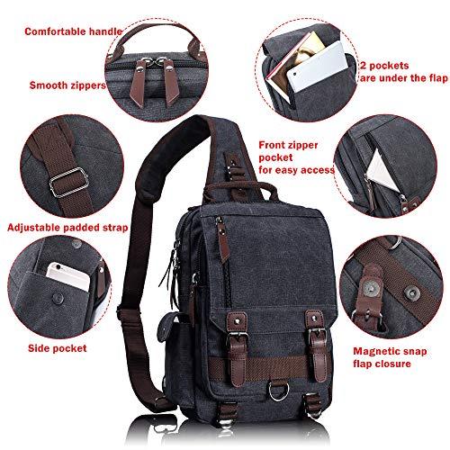 Leaper Canvas Messenger Bag Sling Bag Cross Body Bag Shoulder Bag Gray, L