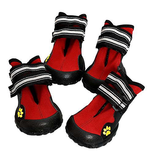 Tenwell Dog Boots Waterproof Pet Shoes Warm Paw Protector for Medium Large Dogs with Anti-Slip Sole Red 4 Pcs Size 4 from Tenwell