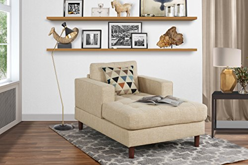 Mid Century Modern Linen Fabric Living Room Chaise Lounge (Beige) Double Arm Chaise Lounge