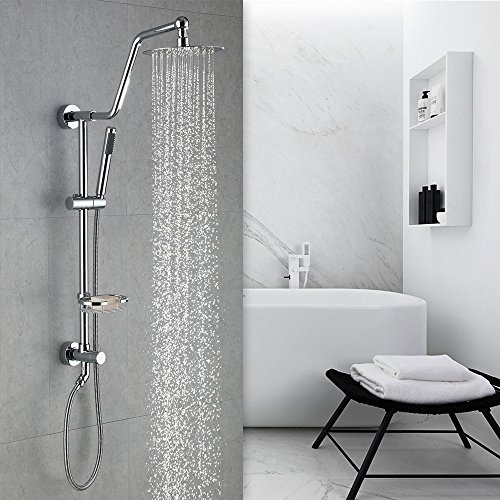 HOMELODY Shower Systems with Rain Shower and Handheld, 8'' Stainless Steel Rain Shower Head, Brass Hand Held Shower Head, Adjustable Slide Bar and Brass Soap Dish, Chrome B7021CP by HOMELODY (Image #2)