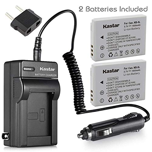 Kastar Battery (X2) & AC Travel Charger for Canon NB-5L and Powershot S100 S110 SX230 HS SX210 is SD790 is SX200 is SD800 is SD850 is SD870 is SD700 is SD880 is SD950 is SD890 is SD970 is SD990 is ()