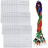 30 Pack Badge Holders with Lanyards, DanziX Waterproof Vertical Name Tag ID Card Holders, Heavy Duty Sealable Vinyl PVC - Clear
