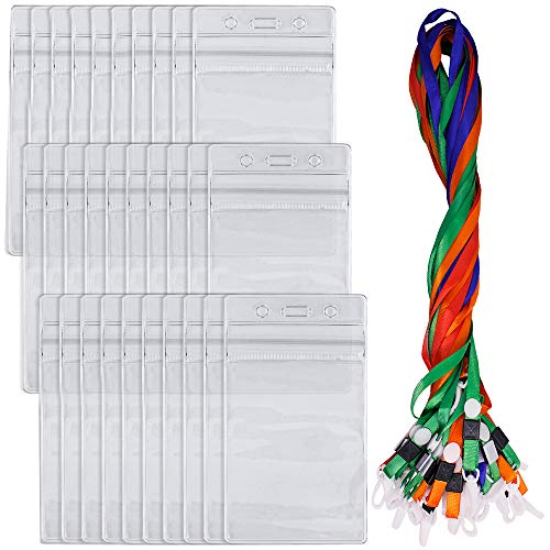 (30 Pack Badge Holders with Lanyards, DanziX Waterproof Vertical Name Tag ID Card Holders, Heavy Duty Sealable Vinyl PVC - Clear)