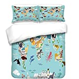 3Pcs Duvet Cover Set,Kids,Educational World Map Africa Camel America Lama Alligator Ocean Australia Koala Print Decorative,Best Bedding Gifts for Family/Friends