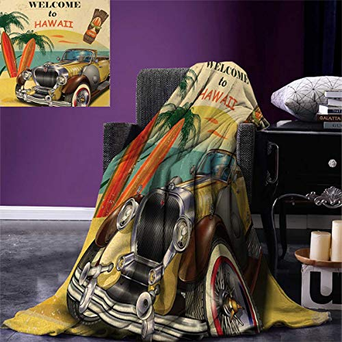 Anniutwo Retro Travel Throw Blanket Welcome to Hawaii American Pop Art Print Aged Car Palms Tribal Mask Surfboards Velvet Plush Throw Blanket 60''x50'' Multi by Anniutwo