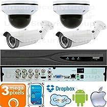 USG Business Grade PTZ 3MP HD-TVI 4 Camera CCTV Kit : 2x 2MP PTZ Dome Cameras + 2x 3MP 2.8-12mm Bullet Cameras + 1x 8 Channel 3MP DVR + 1x 4TB HDD : Apple Android Phone App : True Plug & Play