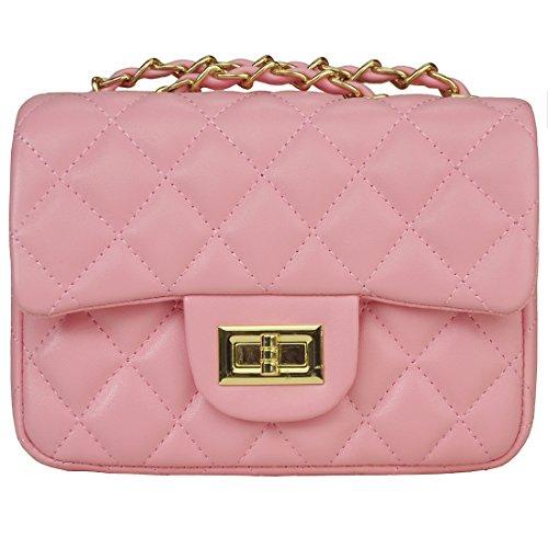 Handbag Women Girls Bag - Volcanic Rock Women's Quilted PU Leather Cross-body Bag Girls Purse & Handbags Chain Small Messenger Bag(919 Pink)