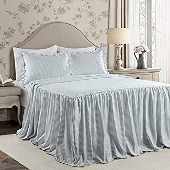 Image of 3 Piece Beautiful Ruffle Skirt Sky Blue Bedspread Set King Stylish Pinstripes Printed Front Shabby Chic Bedding Set Trendy Classic Look Elegant Ruffled Edges All Season Lightweight Farmhouse Bedding Home and Kitchen