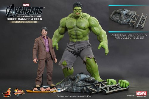 Movie Masterpiece Series Bruce Banner and Hulk Sixth Scale Figure Set Hot Toys