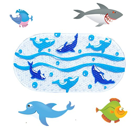 Price comparison product image Non Slip Baby Bath Mats with Suction Cups Mildew Resistant Non Slip Baby Shower Mat for Children Dolphin