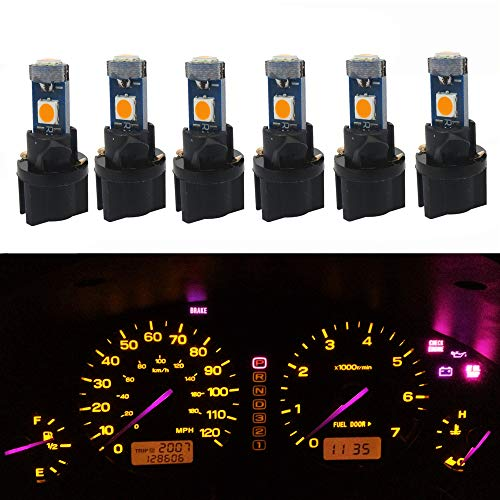 (WLJH T5 LED Light Bulb PC74 37 3-3030SMD Canbus Error Free Instrument Cluster Panel Dash Lights with Twist Socket(6 Pack,Yellow) )
