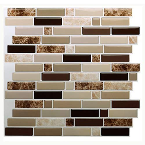 "Vamos Tile Premium Anti Mold Peel and Stick Tile Backsplash,Stick On Backsplash Wall Tiles for Kitchen & Bathroom-Self Adhesive-10.62"" x 10"" (6 Sheets)"