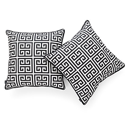 Hofdeco Decorative Throw Pillow Cover INDOOR OUTDOOR WATER RESISTANT Canvas Modern Black Greek Key 18