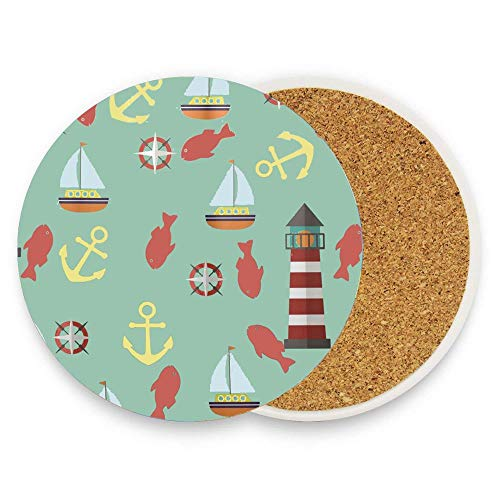Puyrtdfs Lecintevro Lighthouse Boat Marine Animal Coaster for Drinks Absorbent Stone Ceramic Coaster With Coaster for Drink with Cork Backing,Pack Of 1