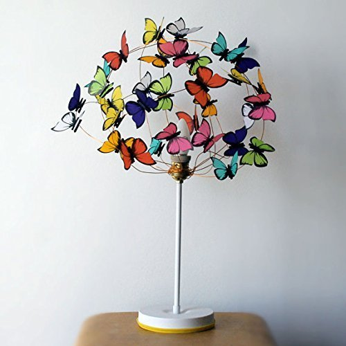 Table lamp with butterflies in white and gold-bedroom decor,livinng room decor,butterfly lover,butterfly light,shadow lamp,kids decor light