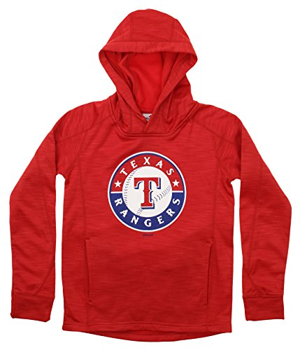 Outerstuff MLB Youth's Performance Fleece Primary Logo Hoodie, Texas Rangers Large (14-16)