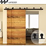 WINSOON Everbilt Home Furniture Metal Track Industrail Material Roller Sliding Double Bypass Doors Hardware Kit Black Heavy System (5FT / Two Doors Set)