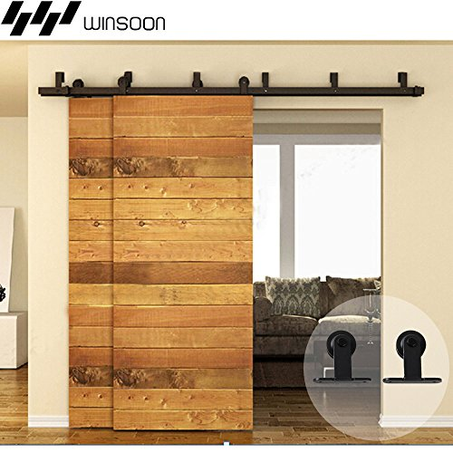WINSOON Everbilt Home Furniture Metal Track Industrail Material Roller Sliding Double Bypass Doors Hardware Kit Black Heavy System (5FT / Two Doors Set) by WINSOON