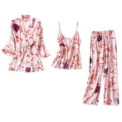 - Pajamas for Women Floral Kimono Robe Nightwear Satin Short Robe Kimono with Belt Casual Three Piece Short Set Watermelon Red