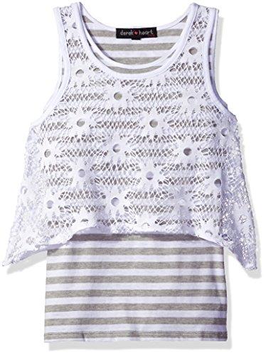 Derek Heart Girls' Big Stripe Tank W/Crochet Overlay, Grey 7/8
