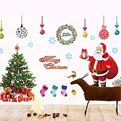 ocamo wall stickers decals new year ornaments 2pcsset festival christmas window decorations santa claus