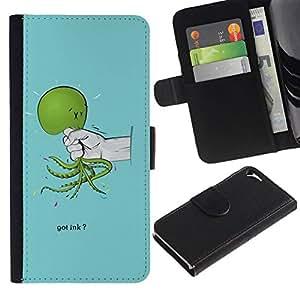All Phone Most Case / Oferta Especial Cáscara Funda de cuero Monedero Cubierta de proteccion Caso / Wallet Case for Apple Iphone 5 / 5S // Funny Got Ink Squid Octopus