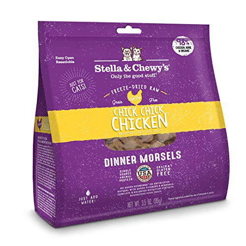 Stella & Chewys Freeze-Dried Raw Chick, Chick, Chicken Dinner Morsels Grain-Free Cat Food, 3.5 oz bag