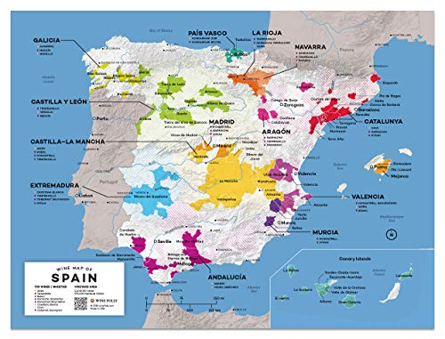 Map Of South Spain.Wine Folly Spain Wine Map Poster Print 12 X 16