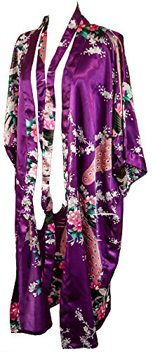 CC Collections Kimono 16 Colours Premium Version Free 1st Class UK Shipping Dressing Gown Robe Lingerie Night wear Dress Bridesmaid Hen Night (Purple Violet)