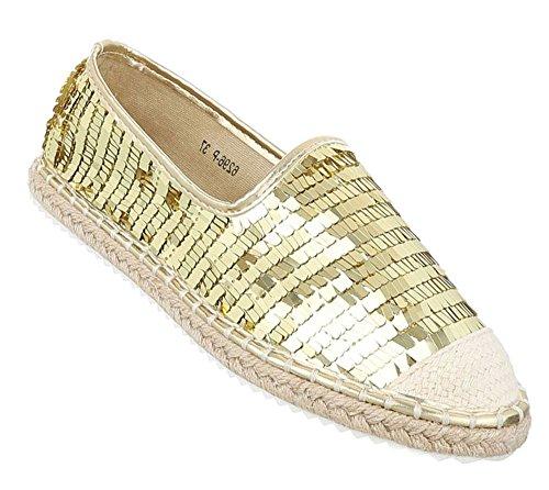 Damen Espadrills Slipper | Bast Espadrilles Schuppen | Glitzer Pailetten Schuhe | Metallic Slip-Ons Profilsohle | Cut-Outs Slipper | Flats Strand | Schuhcity24 Gold