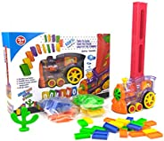 GULEHAY 80 Pcs Domino Rally Train Toy Set, Domino Rally Electric Train with Lights and Sounds, Suitable for Boys and Girls A