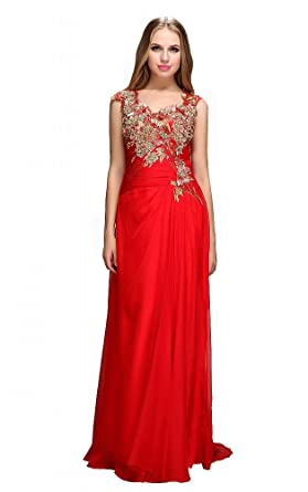 Festamo Fashion Lady Evening Dress Chiffon Prom Dress - Red -