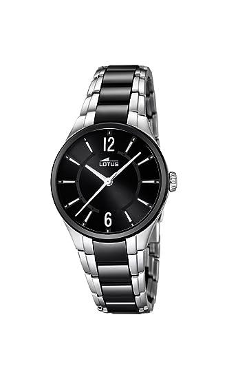 Lotus - Reloj de Cuarzo para Mujer con Esfera analógica de Color Negro y Pulsera de cerámica Negro 15934/2: Amazon.es: Relojes