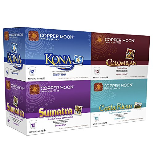 Copper Moon Life Coffees Variety Pack (12 ct: Kona, Sumatra, Costa Rican, Colombian), 48 Count Single Serve K-Cup Brewers