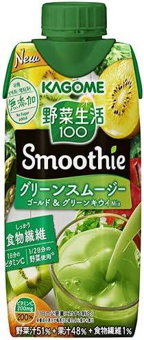 カゴメ 野菜生活100 Smoothie(スムージー) グリーンスムージー ゴールド&グリーンキウイMix 330ml紙パック×12本入