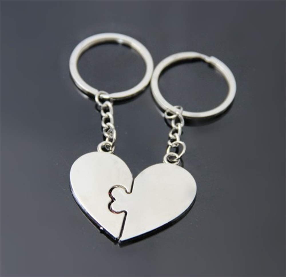 2pcs/lot I Love You Keychain Key Ring Heart Pendant Couple Keyring for Lovers Valentine\'s Day Birthday + Free Velvet Bag as a Gift