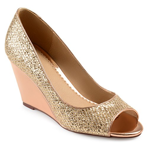 Cuñas Metálicas Brinley Co Para Mujer Sanne Glitter Open-toe Rose Gold