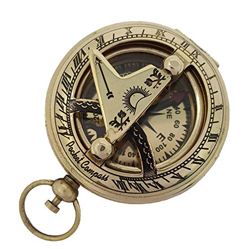 Brass Nautical 2 inches Brass Pocket Sundial Compass Sundial Compass Watch - Watch Compass Pocket
