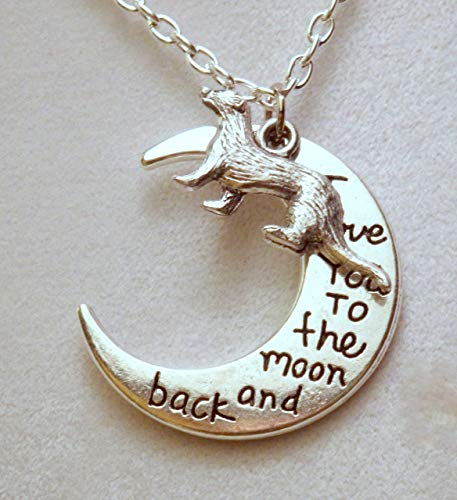 I love you to the moon and back ferret necklace (963)