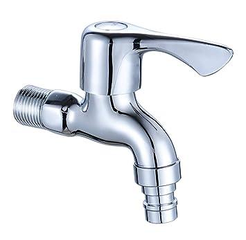 Accesorios de baño Cobre fino Apertura rápida Lavadora Grifo Cerámica Válvula Carrete 4 puntos Grifo Extendido Solo frío