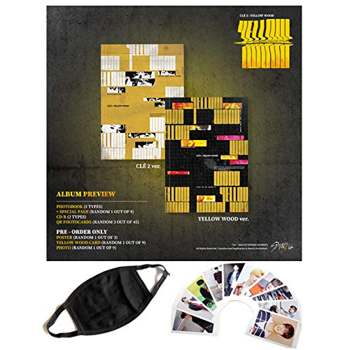 Stray Kids - Clé 2 : Yellow Wood [Random, Standard ver.] Photobook + CD-R + QR Photocards + Folded Poster + Yellow Wood Card + Photo + Extra Gift 1,2