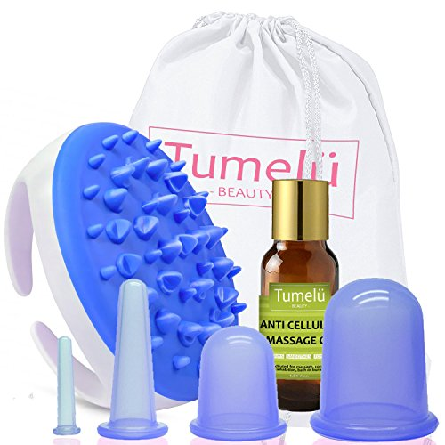 Premium Anti Cellulite Kit By Tumelu – Complete Cellulite Remover Cupping Set (4 Sizes) With Massage Brush/ Mitt And Anti Cellulite Essential Massage Oil For Firm, Toned, Smooth Skin (Blue) (Cellulite Massage Mitt)