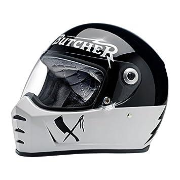 Casco integral Biltwell Lane divisor Rusty Butcher homologado blanco negro universal X Moto Harley y custom