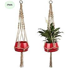 Macrame Plant Hanger Indoor Outdoor Hanging Plant Holder Jute Rope 42inch 2-Pack