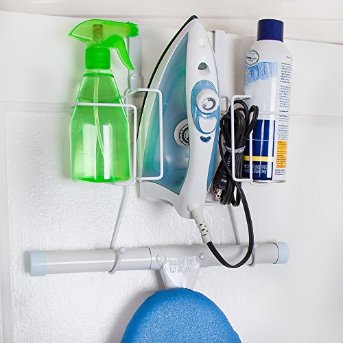 Home Intuition Over The Door Iron Board Holder Wall Mount and Organizer, White ()