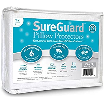 Set of 2 Travel Size SureGuard Pillow Protectors - 100% Waterproof, Bed Bug Proof, Hypoallergenic - Premium Zippered Cotton Terry Covers - 10 Year Warranty