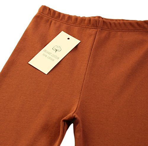 CAOMP Girls'%100 Organic Cotton Leggings for School or Play (13-14, Brown) by CAOMP (Image #1)