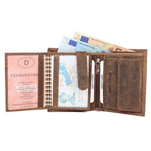 donna per di credito Portafoglio bovina P2h banconote scomparti carte vintage portafogli porta 17 Portafoglio portacarte carta marrone pelle monete Almadih uomo in qWqUfz6H