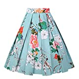 Girstunm Women's Pleated Vintage Skirt Floral Print A-Line Midi Skirts with Pockets Mint-Flowers S