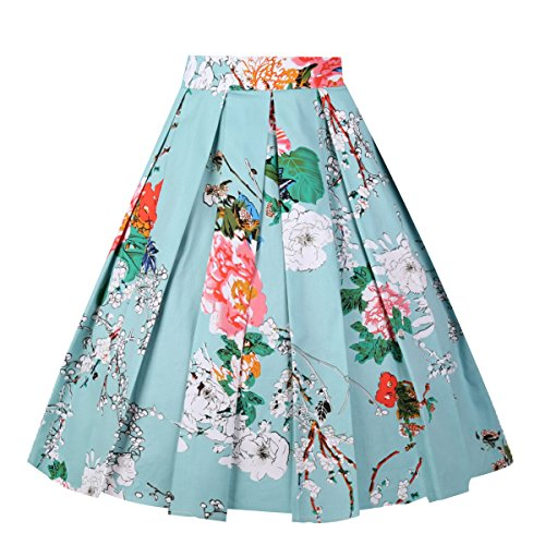 Floral Print Green (Girstunm Women's Pleated Vintage Skirt Floral Print A-line Midi Skirts with Pockets Mint-Flowers XX-Large)